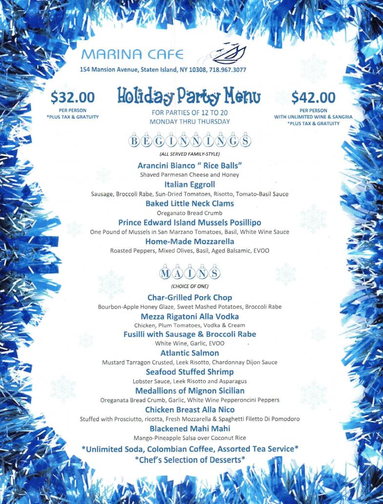 2016 Holiday Party Menu Marina Cafe